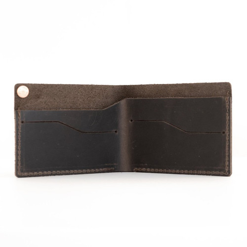 Rustico Minimalist Bifold Leather Wallet - Dark Brown - Open
