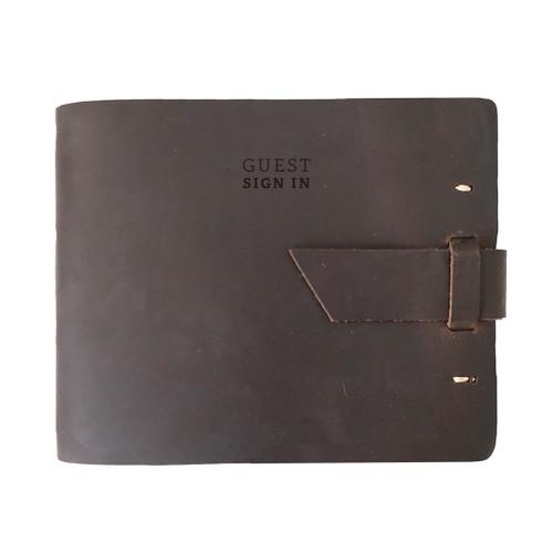 Rustico Leather Guest Book - Dark Brown