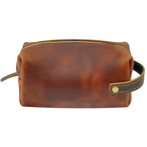 Large Leather Pouch - Saddle - High Line by Rustico - side view