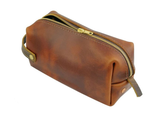 Large Leather Pouch - Saddle - High Line by Rustico