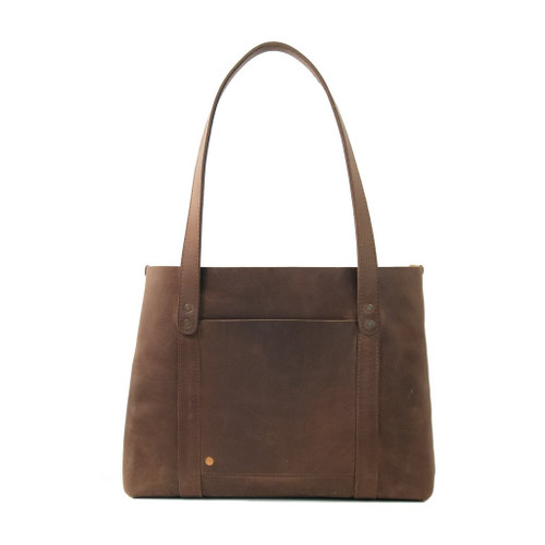 Leather Tote - Hideout by Rustico - Dark Brown - Back Side