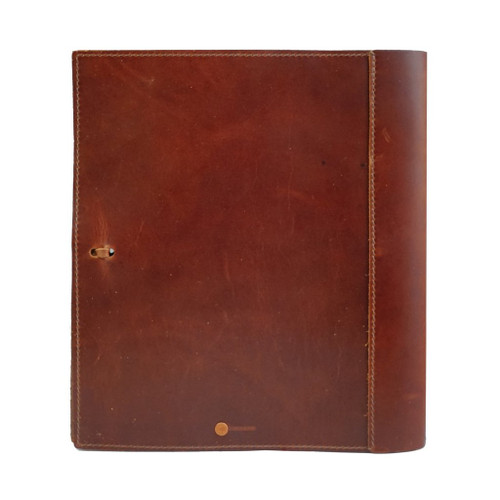 "Rustico Soft Leather Binder with 1.5"" Rings 8"" x 11"" - Back View"
