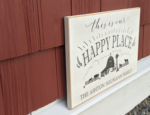 This is our happy place custom made family sign