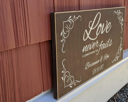 Love Never Fails - Personalized Sign with Date - Side View