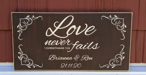 Love Never Fails - Personalized Sign with Date