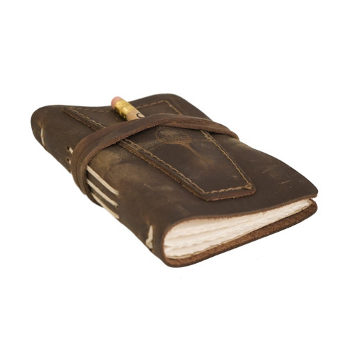 Rustico Leather Golf Log Book - Side