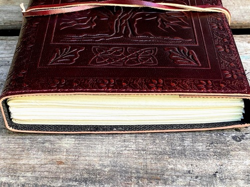 Tree of Life Celtic Leather Journal - view of paper