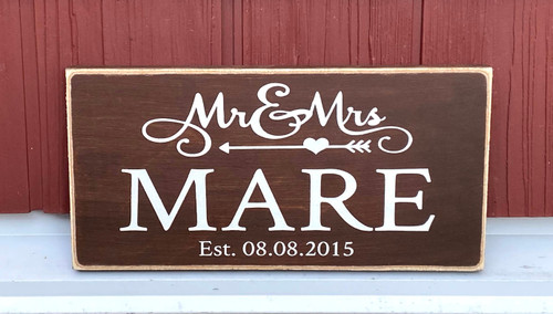 Mr and Mrs name sign with established date