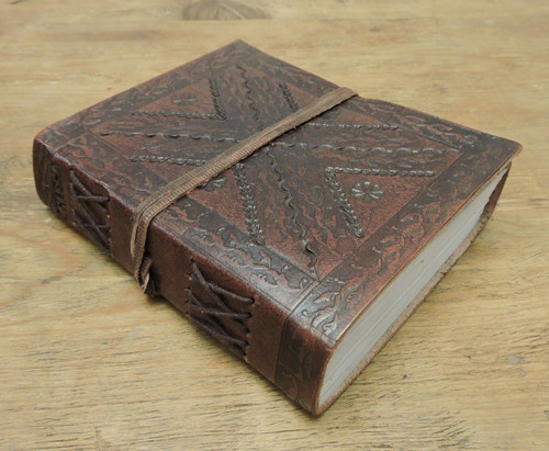 side view old world leather journal