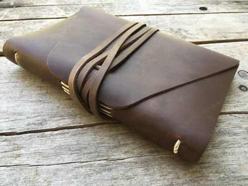 "Rustico ""The Messenger"" Leather Journal - Dark Brown 7"" x 9"" - Engravable"