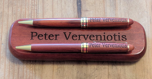Personalized rosewood pen and pencil set with case