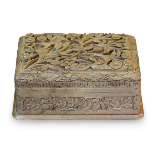 """Wooden Jewellery Box """"Bird Enchantment"""" front view"""