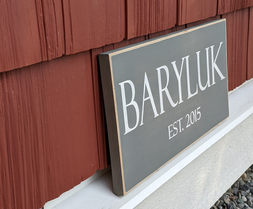 Family Name Sign with Established Year - side view