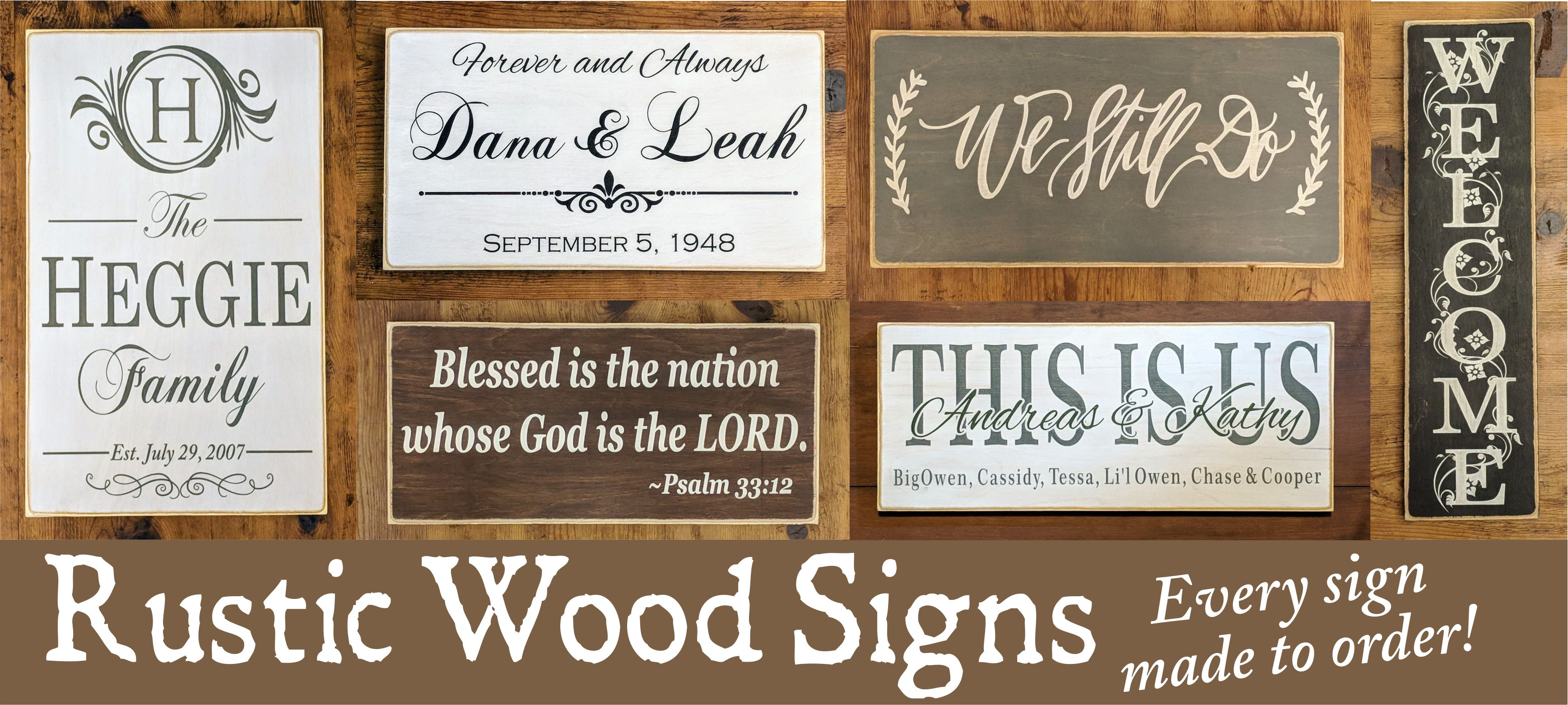 Custom Wood Signs and Farmhouse Rustic Signs