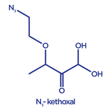 Chemical structure of N3-kethoxal, or azide kethoxal, in its hydrate form
