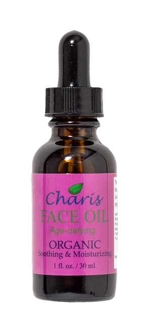 The Charis Face Oil contains six organic face oils and kosher vitamin E Oil. The oils used are selected for their qualities that benefit the facial skin and are suitable for all types of skin, including normal to oily skin types. The Charis combination of oils make for an excellent night moisturizer and collectively they super moisturize and balance the skin. These oils help to protect, hydrate the skin, and enable valuable nutrients to penetrate into the skin.