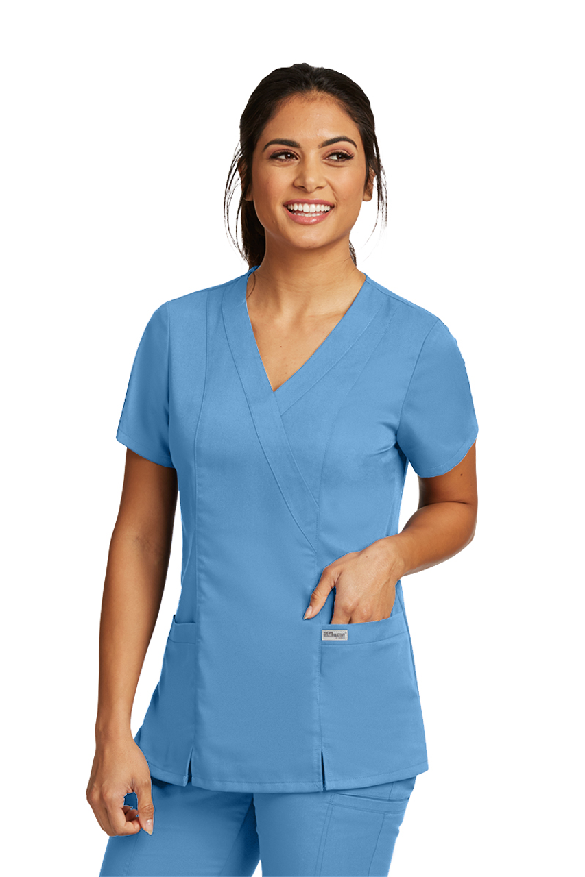Grey/'s Anatomy Scrub Top Women/'s Mock Wrap Princess 41101-905 Steel