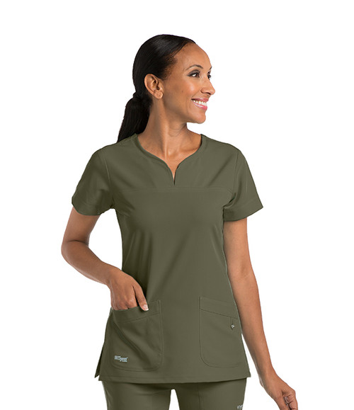 (2121) Grey's Anatomy™ Signature Notch Neck 2 Pocket Scrub Tops