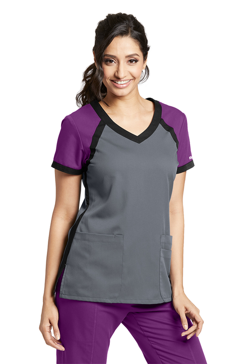 3-Pocket Color Block Top 41435 - Active V-Neck Scrubs