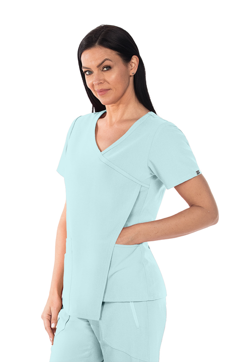 GNT004 Women's Asymmetrical Top - 3 Pocket Nina Top with Pleated Back