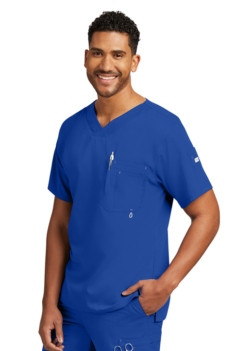 Mens High Open V-Neck Scrub Top With 3 Pockets (0107)