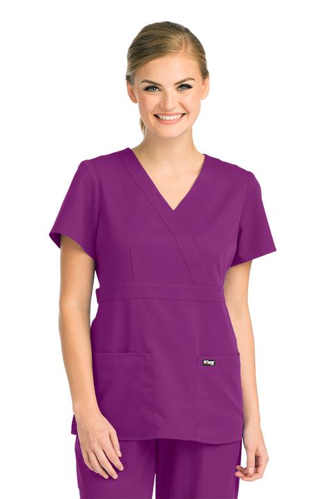 (4153) Grey's Anatomy™  Junior 3 Pocket Mock Wrap Top