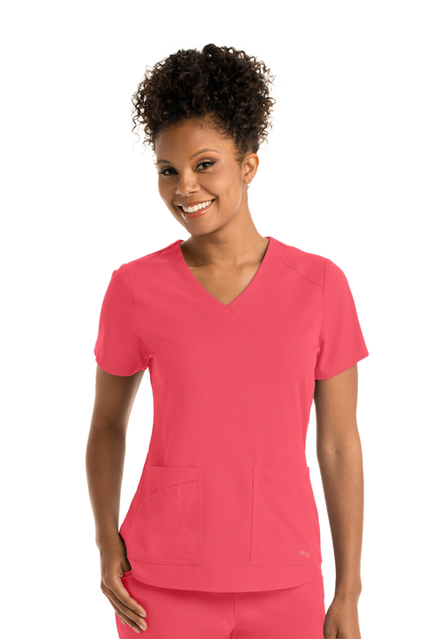 V-Neck 4-Pocket Top GRST011 - Spandex Stretch