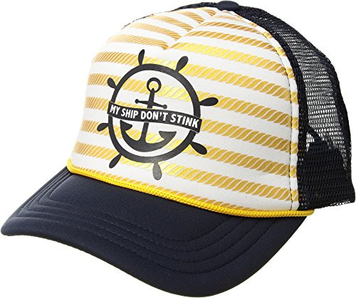 """San Diego Hat Company """"My Ship Don't Stink"""" Trucker Young Kids Cap Navy 3-6 Yrs"""