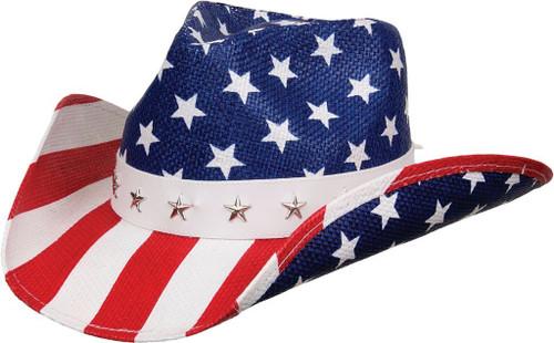 Kenny K Western Cowboy Hat USA Flag Patriotic Stars & Stripes 4th of July & Year Round ST10 Multiple Styles Toyo Straw