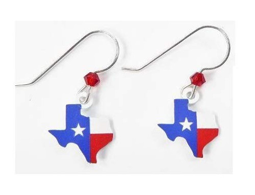 Sienna Sky Texas State Flag on Map of Texas State Earrings Handmade in USA Style 2104 Hypoallergenic