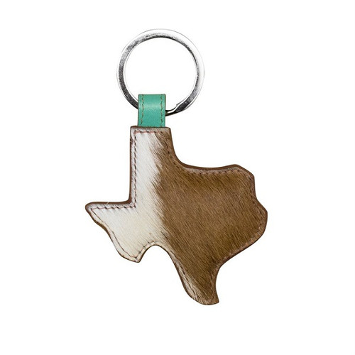 Texas Keychain Cowhide leather w/Hair iLi of New York Brown White Turquoise 6497