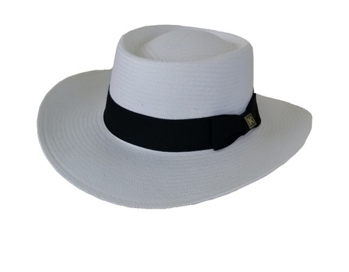 Kenny K Gambler Hat, White Planter's Hat, Toyo Straw, Classic Elegant Hat for Casual or Formal Wear