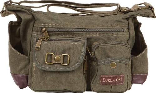 Eurosport Canvas Messenger Bag B420 Multi Pockets Adjustable Strap