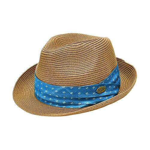 San Diego Hat Company Men's Blue Twill Band SDTA Pin Paperbraid Fedora Hat, Natural
