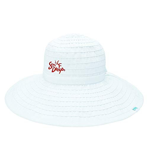San Diego Hat Company SDTA Tourist Authority Women's White Floppy Embroidery with Ribbon One Size Adjustable Happiness is Calling HIC Packable UPF50+
