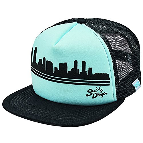 San Diego Hat Company Trucker Cap, Sublimated City Skyline, Black, Turquoise