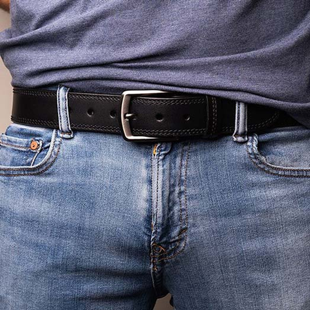 Leather Gun Belt Being Worn With Jeans