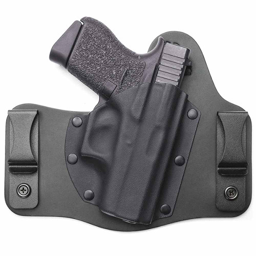 The leather for each ComfortTuck Combat Cut is customized based on gun model to ensure the perfect fit. Your leather will be cut and sized to fit your particular gun model, the stock photo shows an example of our Glock 43 ComfortTuck Combat Cut.