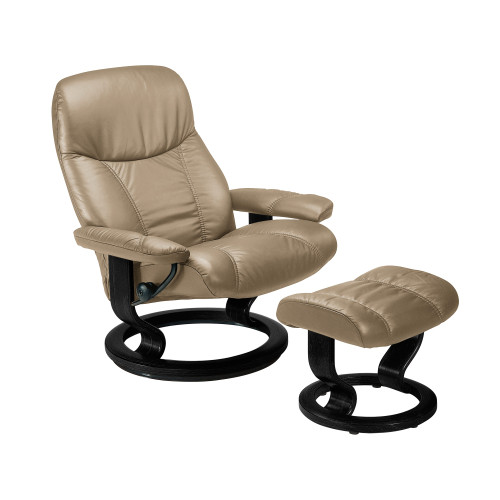Stressless Consul Chair Large with Classic Base by Ekornes (XOUT-STAMBASSCO-SP-GREY-BATICK WILD DOVE)