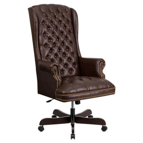High Back Traditional Tufted Leather Executive Office Chair (XOUT-FFCI-360-BRN-GG)