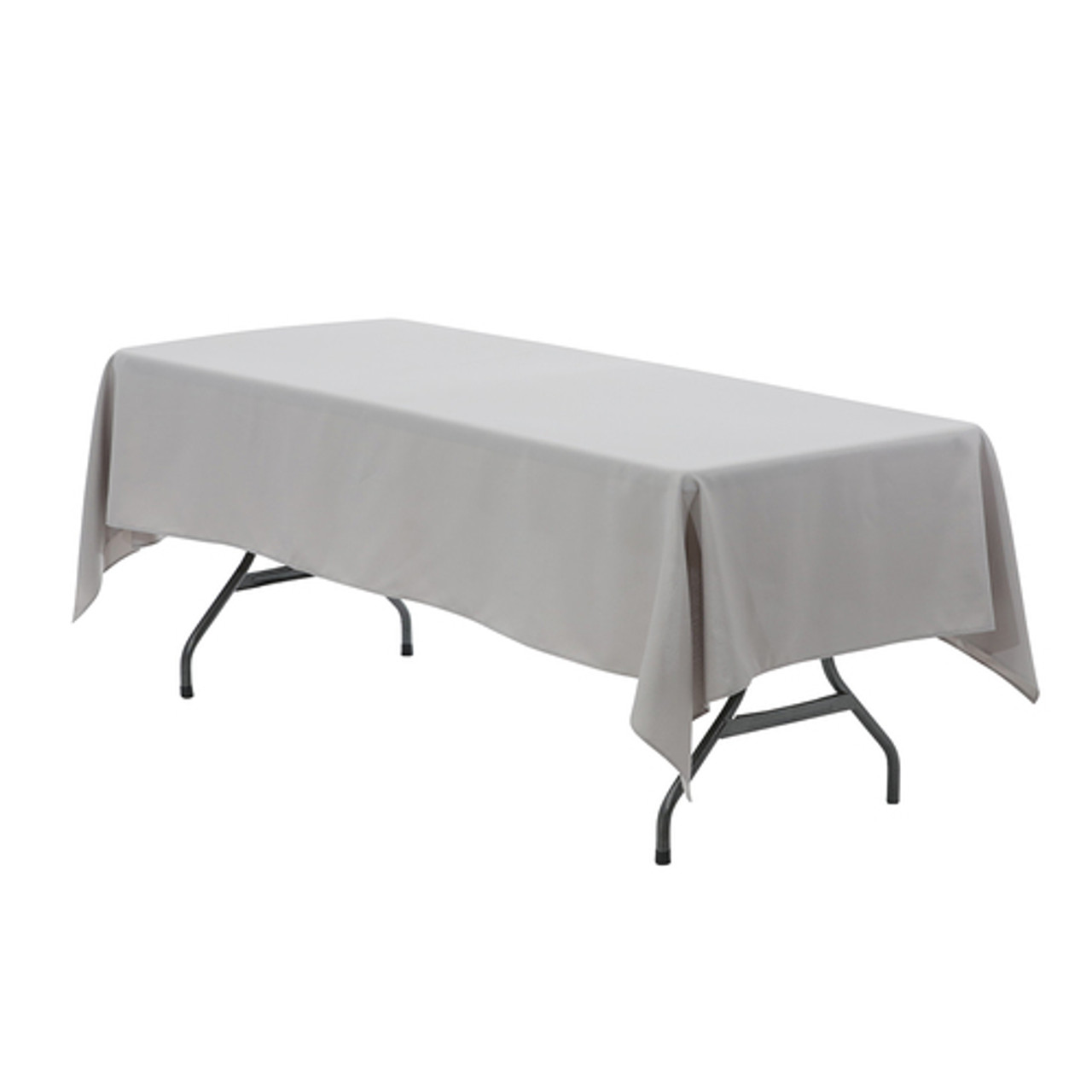 60 inch by 126 inch WHITE FABRIC TABLECLOTH FOR YOUR HOLIDAY TABLE