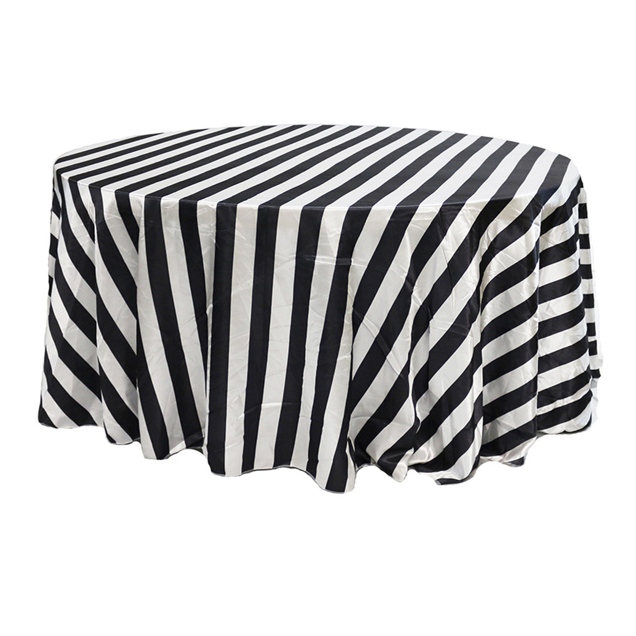 Pleasing 132 Inch Satin Round Tablecloth Black White Striped Home Interior And Landscaping Synyenasavecom