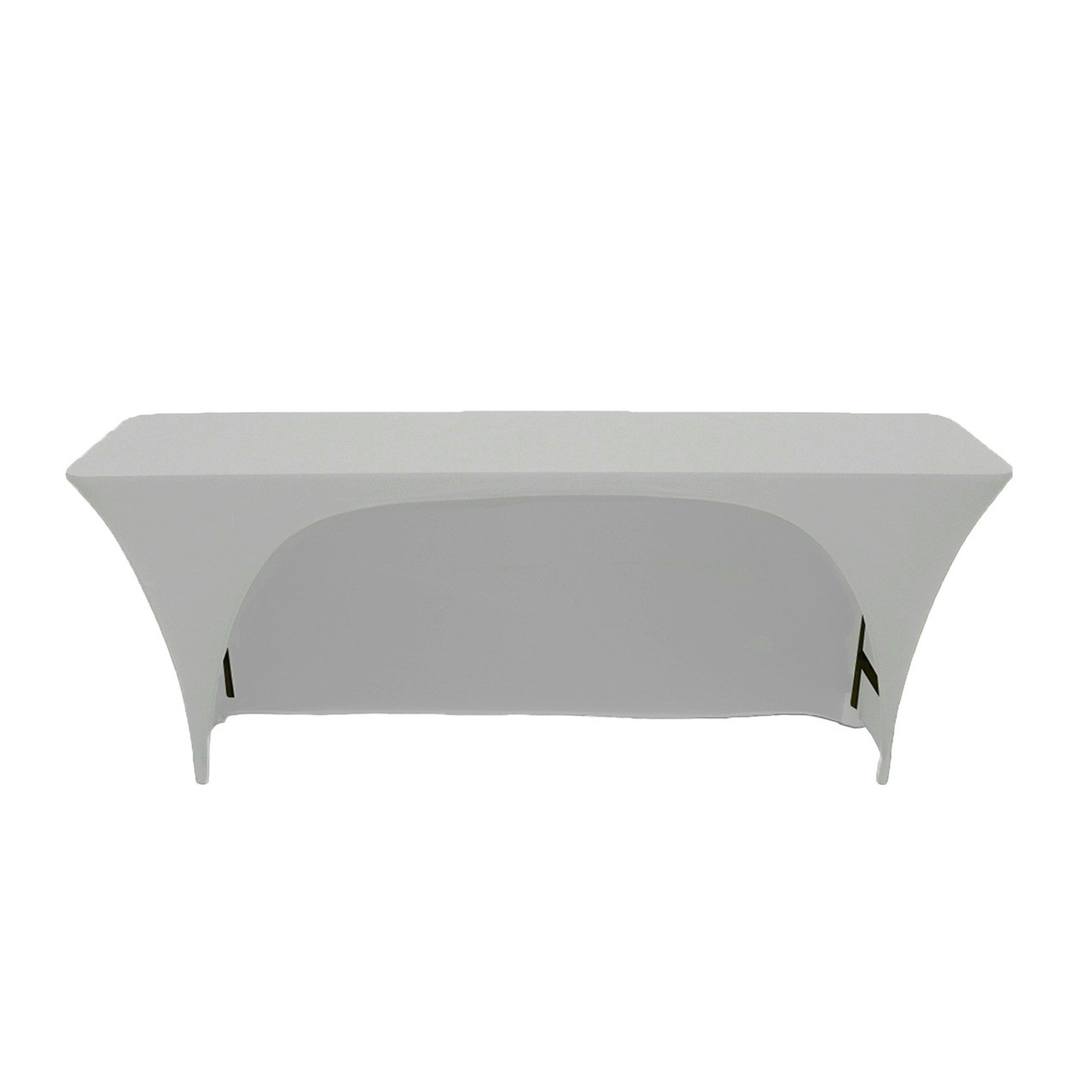 225 & Spandex 6 Ft x 18 Inches Open Back Rectangular Table Cover Silver