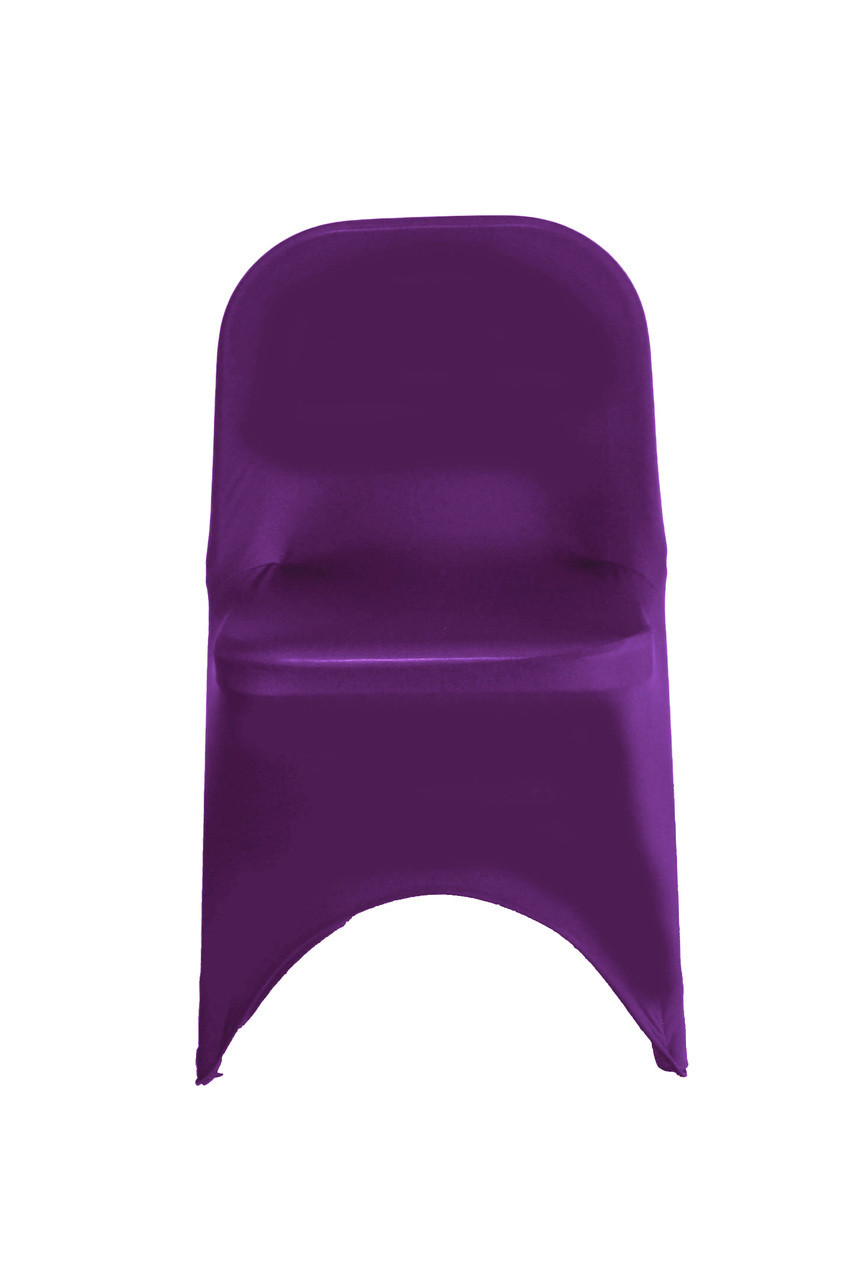 Sensational Stretch Spandex Folding Chair Cover Eggplant Pack Of 6 Machost Co Dining Chair Design Ideas Machostcouk