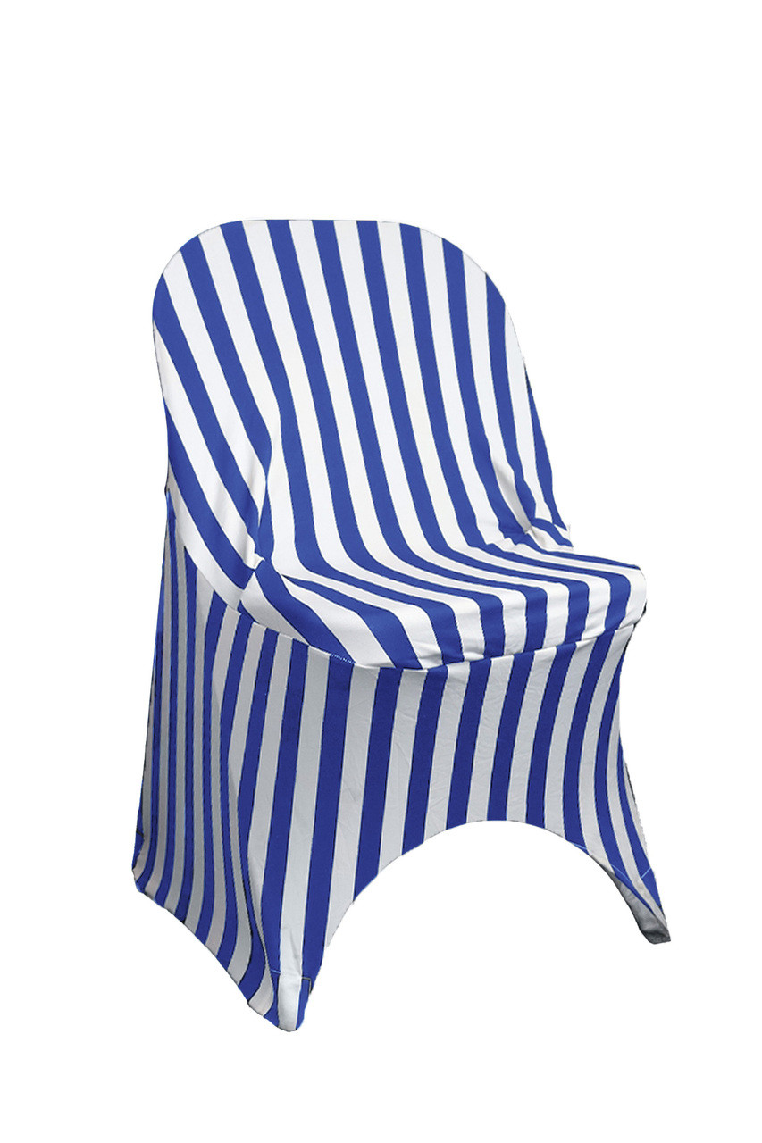 Fantastic Stretch Spandex Folding Chair Covers Striped Royal Blue And White Pack Of 6 Caraccident5 Cool Chair Designs And Ideas Caraccident5Info