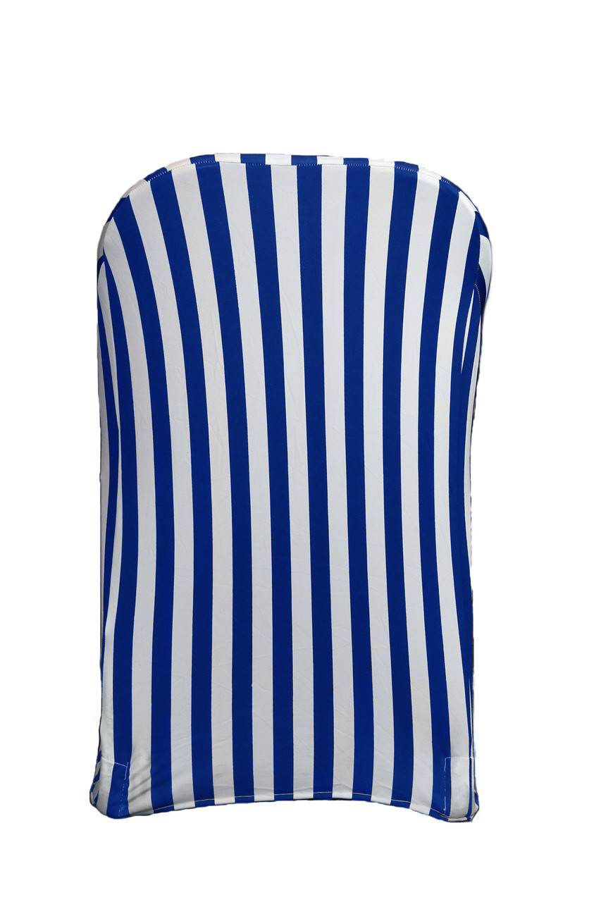Sensational Stretch Spandex Folding Chair Covers Striped Royal Blue And White Pack Of 6 Caraccident5 Cool Chair Designs And Ideas Caraccident5Info