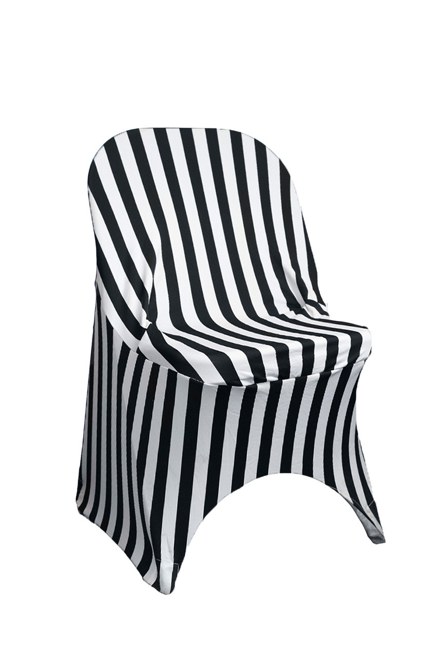 Stretch Spandex Folding Chair Covers Striped Black And White Bridal Tablecloths