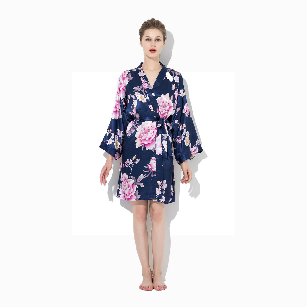 Kimono Silk Bridesmaid Floral Robes Plus Size Navy Blue For Weddings Bridal Tablecloths