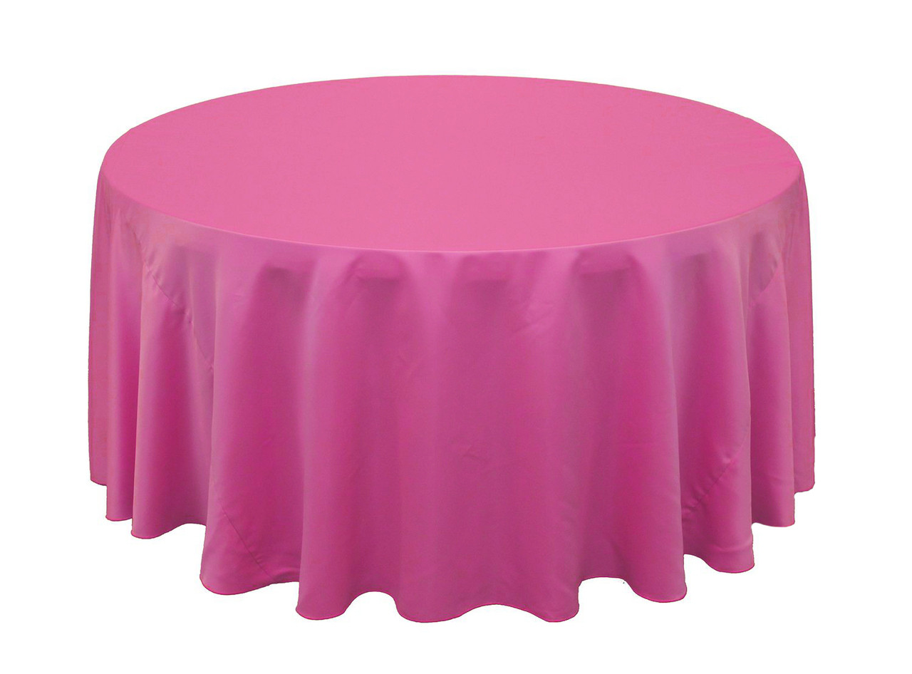Wholesale Wedding Table Linens 132 inch Lu0027amour Round Tablecloths Fuchsia | Wholesale Wedding Table Linens