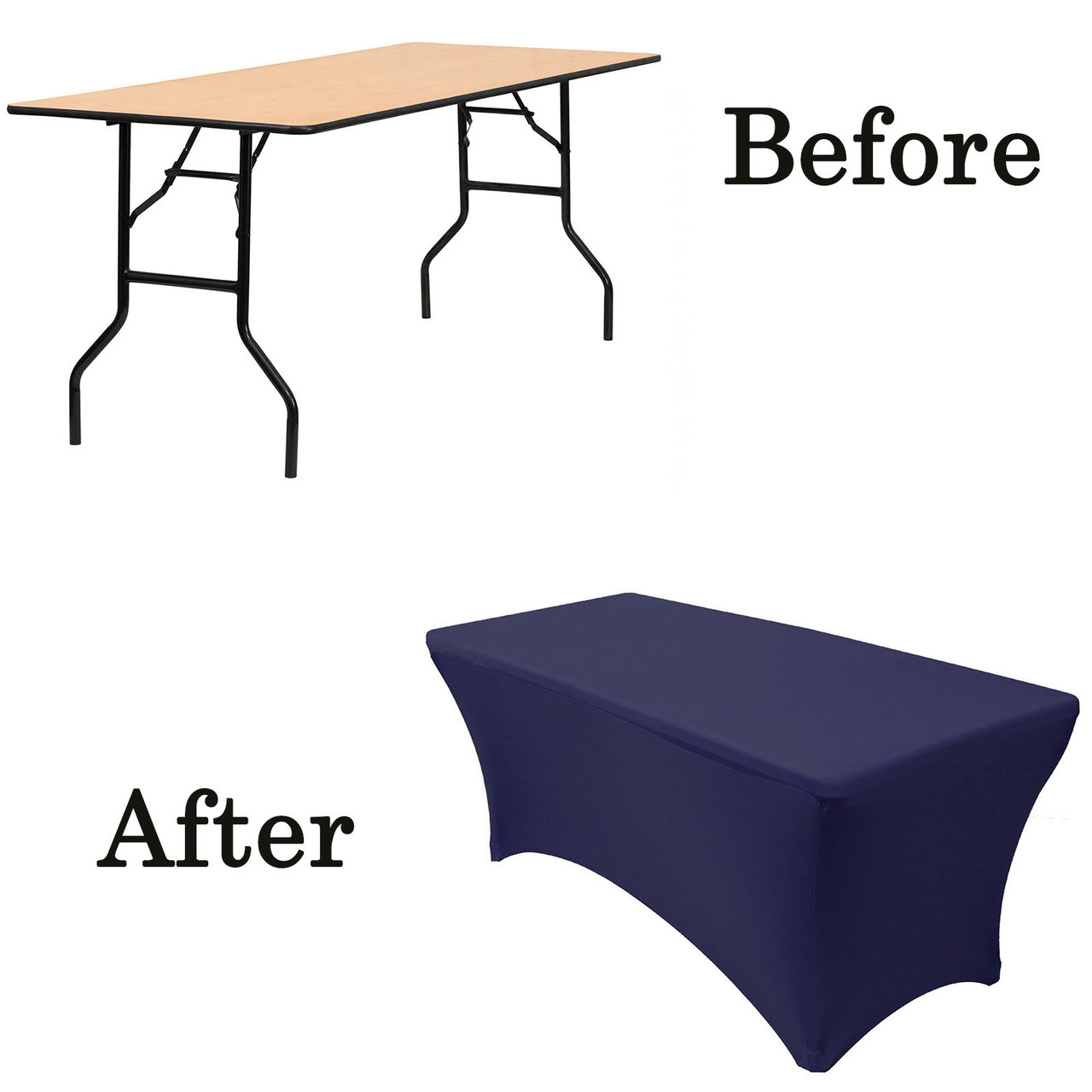 6 Ft Rectangular Spandex Table Covers Navy Blue Wholesale Wedding Tablecloths